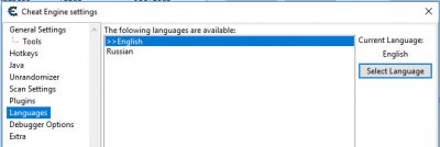 """Languages"", затемы выберите ""Russian"" и нажмите кнопку ""Select Language""."